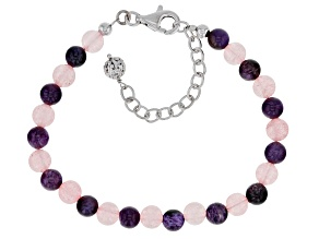 Purple charoite rhodium over sterling silver bracelet
