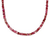 Pink Tourmaline Bead Strand Silver Necklace