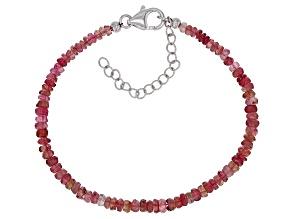 Pink Tourmaline Bead Strand Silver Bracelet