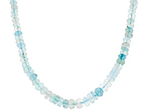 Blue Aquamarine Bead Strand Silver Necklace