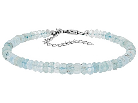 Blue Aquamarine Sterling Silver Bracelet Approximately