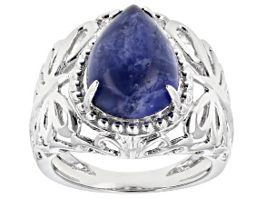 Blue sodalite rhodium over sterling silver solitaire ring