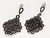Black spinel rhodium over silver earrings 4.54ctw