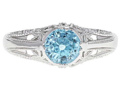 Blue zircon rhodium over sterling silver ring 1.36ct