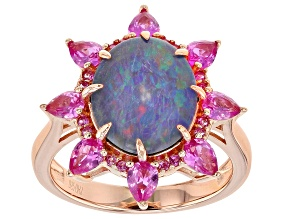 Multi-Color Australian Opal Triplet 18k Rose Gold Over Silver Ring 1.30ctw