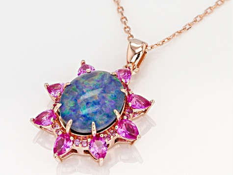 Multi-Color Australian Opal Triplet 18k Rose Gold Over Silver Pendant with Chain 1.30ctw
