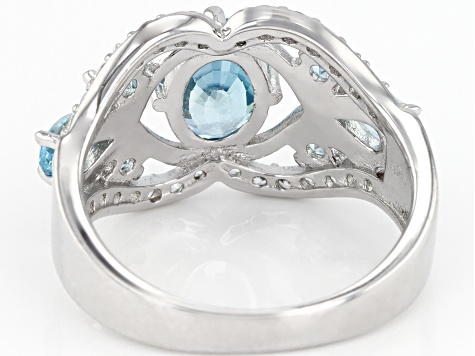 Blue zircon rhodium over silver ring 2.52ctw