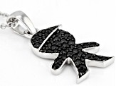 Black spinel rhodium over silver pendant with chain .64ctw