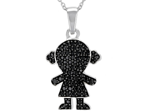Black spinel rhodium over silver pendant with chain .74ctw