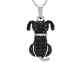 Black spinel rhodium over silver pendant with chain .97ctw
