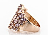 Pink color shift garnet 18k rose gold over sterling silver ring 5.20ctw