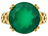 Green Onyx 18k Gold Over Silver Ring