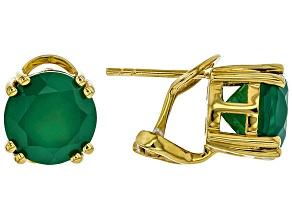 Green Onyx 18k Gold Over Silver Earrings