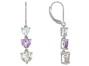 Multi-Gemstone Rhodium over silver earrings 4.19ctw