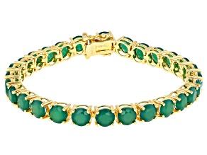 Green onyx 18k gold over silver bracelet