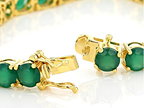Green onyx 18k gold over silver bracelet