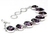 Purple Chevron Amethyst Rhodium Over Sterling Silver Bracelet