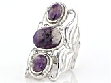 Purple amethyst rhodium over sterling silver ring