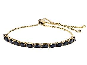 Blue sapphire 18k gold over silver bolo bracelet 3.64ctw