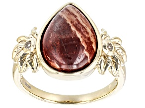 Red Chalcedony & White Zircon 18K Gold Over Silver Flower Detail Ring 0.07ctw