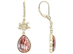 Red Chalcedony &  White Zircon 18K Gold Over Silver Flower Detail Earrings 0.07ctw