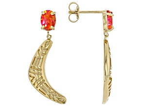 Orange Lab Created Opal 18K Yellow Gold Over Silver Boomerang Earrings
