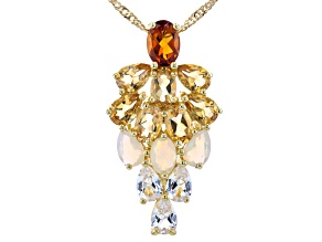 """Multi-Stone 18K Yellow Gold Over Silver Pendant With 18"""" Chain 4.69ctw"""