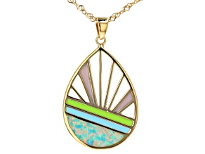 """Blue Lab Created Opal 18K Yellow Gold Over Silver Sunrise Sunset Pendant With 18"""" Chain"""