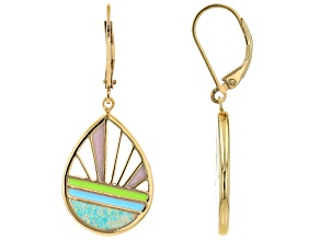 Blue Lab Created Opal 18K Yellow Gold Over Silver Sunrise Sunset Earrings