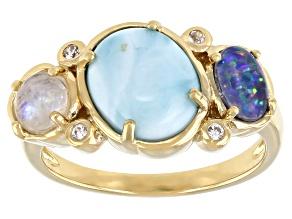 Opal, Rainbow Moonstone, Larimar, &  Zircon 18K Gold Over Silver Ring 0.05ctw