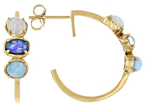 Multi Color Mosaic Opal Triplet 18K Yellow Gold Over Silver Earrings