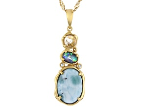 Multi Color Mosaic Opal Triplet 18K Yellow Gold Over Silver Pendant