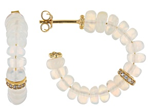 Multi-Color Ethiopian Opal & White Zircon 18K Yellow Gold Over Silver Earrings 14.09ctw