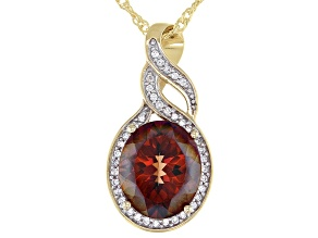 Red Labradorite 18K Yellow Gold Over Sterling Silver Pendant with Chain 3.70ctw