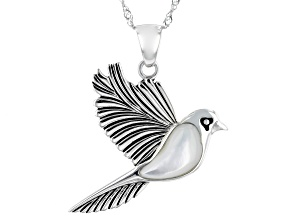 White Mother-Of-Pearl Rhodium Over Sterling Silver Dove Pendant With Chain