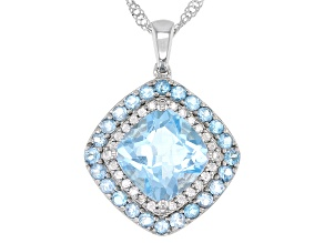 Sky Blue Topaz Rhodium Over Sterling Silver Pendant With Chain 5.02ctw