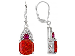Red Lab Created Opal Rhodium Over Silver Earrings 0.64ctw