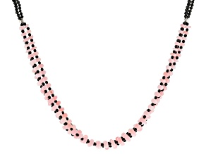 Pink Opal Rhodium Over Sterling Silver Necklace