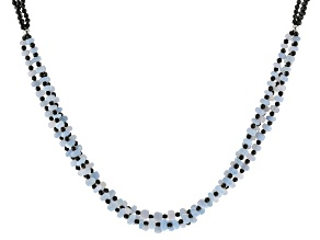 Blue Opal Rhodium Over Sterling Silver Necklace