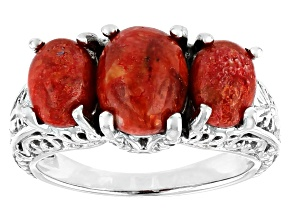 Red Coral Rhodium Over Sterling Silver 3-Stone Ring.