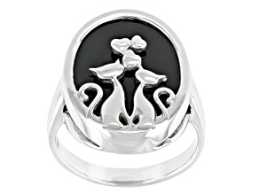 Black Onyx Rhodium Over Sterling Silver Cat Ring 18x14mm.