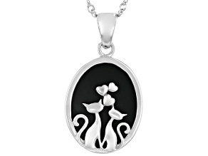 Black Onyx Rhodium Over Sterling Silver Cat Pendant With Chain 20x16mm