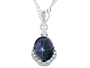 Blue Sapphire Rhodium Over Silver Pendant With Chain 3.76ctw