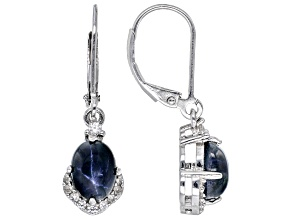 Blue Sapphire Rhodium Over Sterling Silver Dangle Earrings 3.69ctw