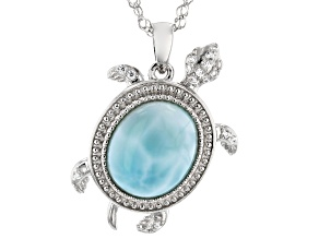Blue Larimar Rhodium Over Sterling Silver Turtle Pendant With Chain 0.06ctw