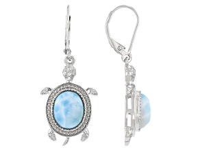 Blue Larimar Rhodium Over Sterling Silver Earrings 0.09ctw