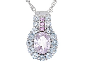 Pink Kunzite Rhodium Over Sterling Silver Pendant With Chain 2.48ctw