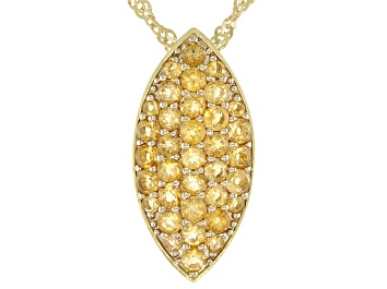 Picture of Citrine 18K Yellow Gold Over Sterling Silver Pendant with Chain 0.90ctw