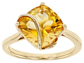 Yellow Square Cushion Citrine 18K Yellow Gold Over Sterling Silver Ring 3.20ct