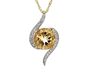 Brown Quartz 18k Yellow Gold Over Silver Pendant With Chain 5.49ctw